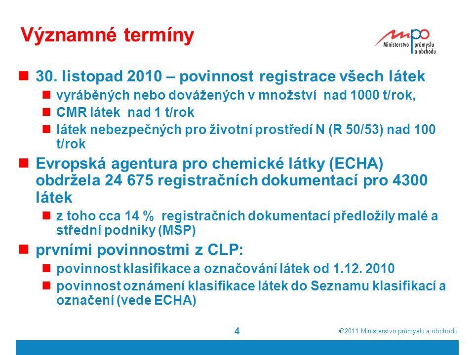  2011  Ministerstvo průmyslu a obchodu 4 Významné termíny 30.