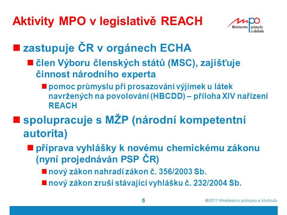  2011  Ministerstvo průmyslu a obchodu 6 Aktivity MPO v legislativě REACH zastupuje ČR v orgánech ECHA člen Výboru členských států (MSC), zajišťuje činnost národního experta pomoc průmyslu při prosazování výjimek u látek navržených na povolování (HBCDD) – příloha XIV nařízení REACH spolupracuje s MŽP (národní kompetentní autorita) příprava vyhlášky k novému chemickému zákonu (nyní projednáván PSP ČR) nový zákon nahradí zákon č.