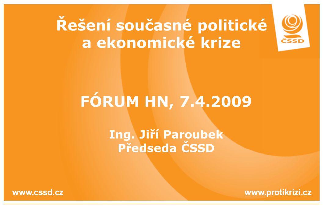 Řešení současné politické a ekonomické krize www.cssd.czwww.protikrizi.cz FÓRUM HN, 7.4.2009 Ing. Jiří Paroubek Předseda ČSSD