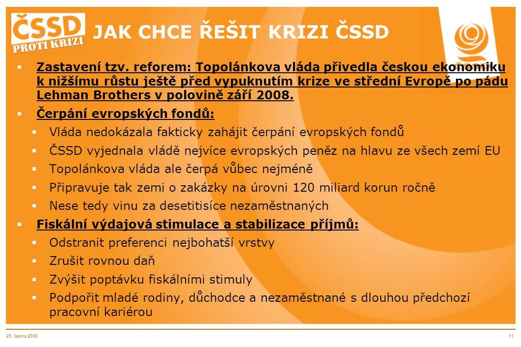 25. ledna 200911 JAK CHCE ŘEŠIT KRIZI ČSSD  Zastavení tzv. reforem: Topolánkova vláda přivedla českou ekonomiku k nižšímu růstu ještě před vypuknutím