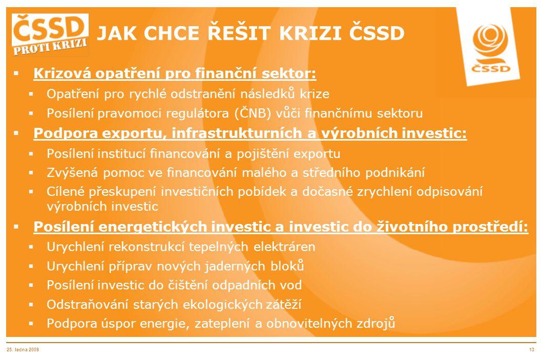 25. ledna 200913 JAK CHCE ŘEŠIT KRIZI ČSSD  Krizová opatření pro finanční sektor:  Opatření pro rychlé odstranění následků krize  Posílení pravomoc