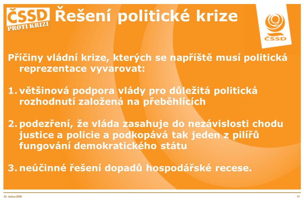 25. ledna 20091725. ledna 200917 Řešení politické krize Příčiny vládní krize, kterých se napříště musí politická reprezentace vyvarovat: 1.většinová p