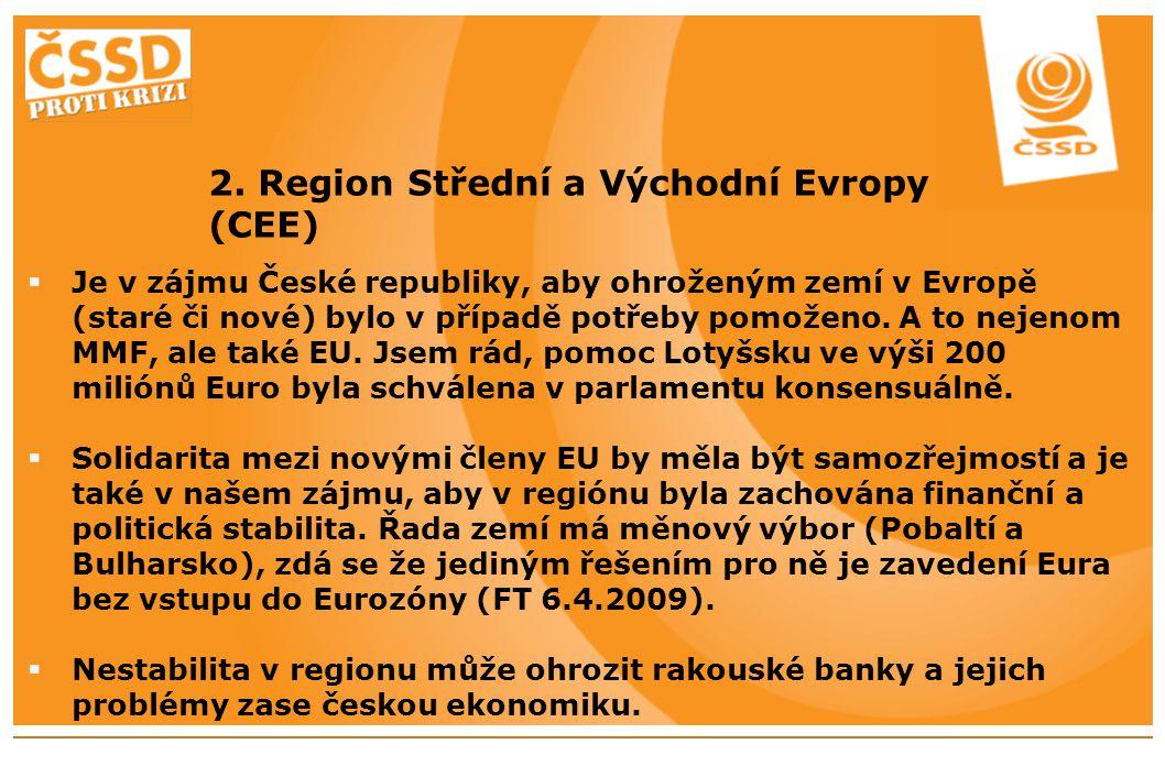 2. Region Střední a Východní Evropy (CEE)  Je v zájmu České republiky, aby ohroženým zemí v Evropě (staré či nové) bylo v případě potřeby pomoženo. A