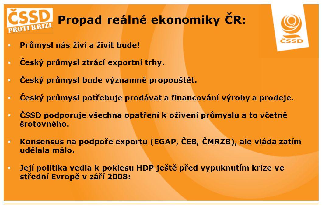 Propad reálné ekonomiky ČR:  Průmysl nás živí a živit bude.