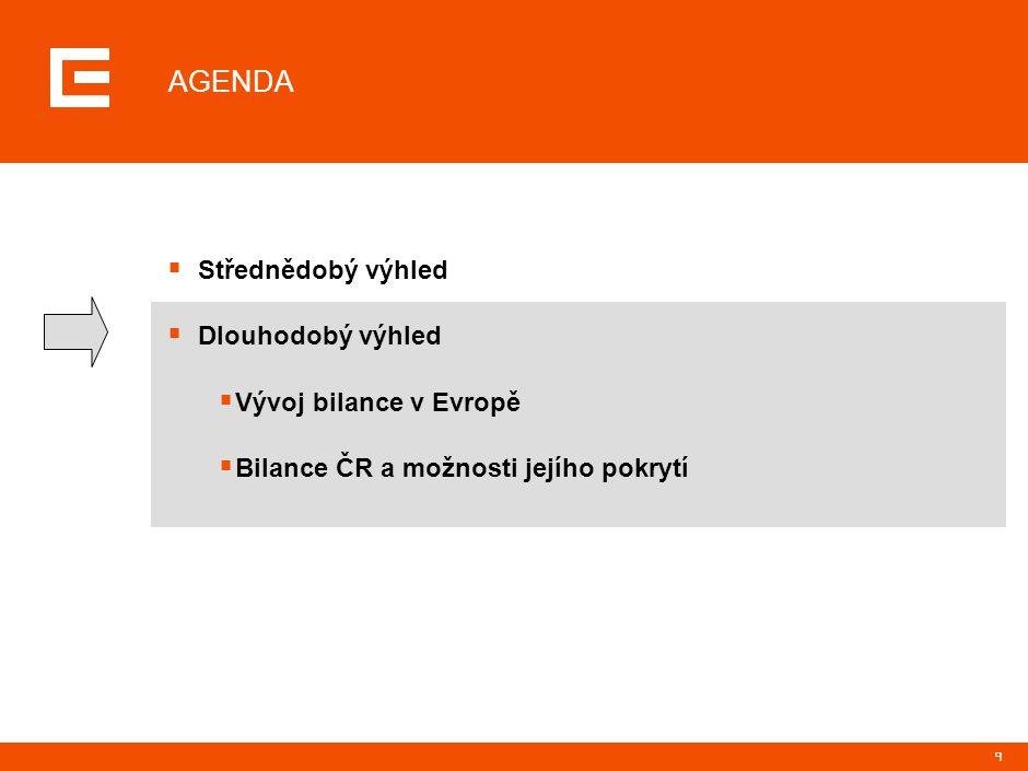9 AGENDA  Střednědobý výhled  Dlouhodobý výhled  Vývoj bilance v Evropě  Bilance ČR a možnosti jejího pokrytí
