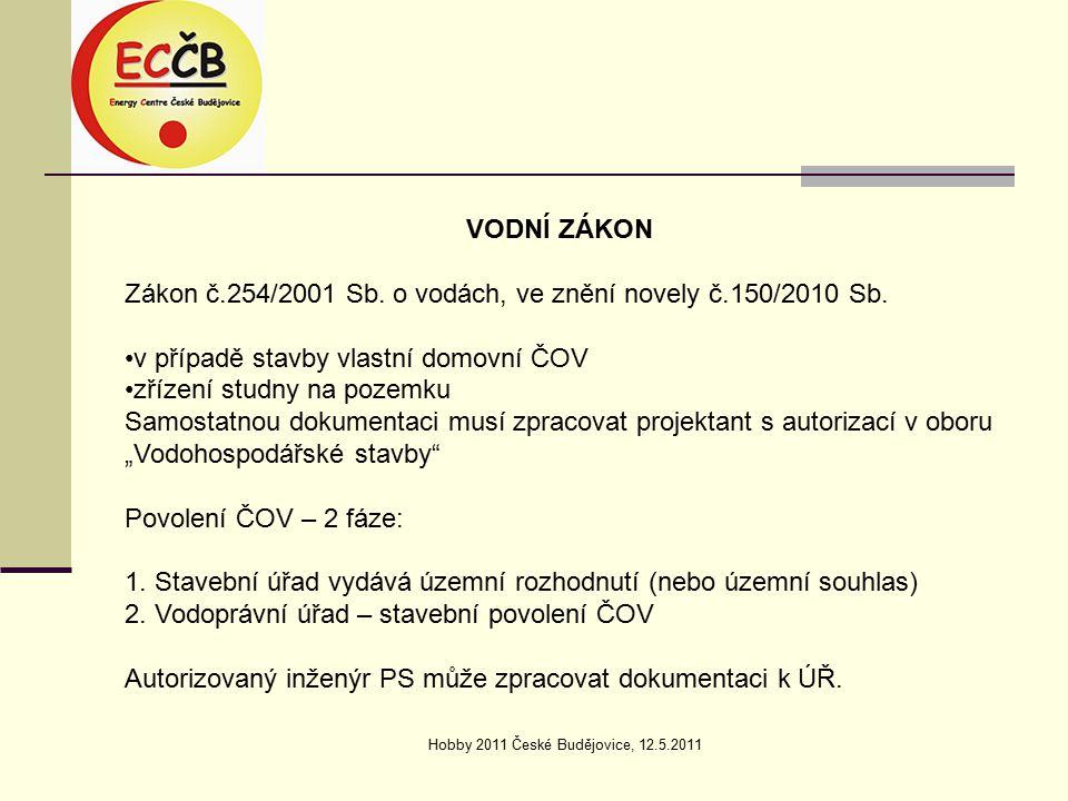Hobby 2011 České Budějovice, 12.5.2011 VODNÍ ZÁKON Zákon č.254/2001 Sb.