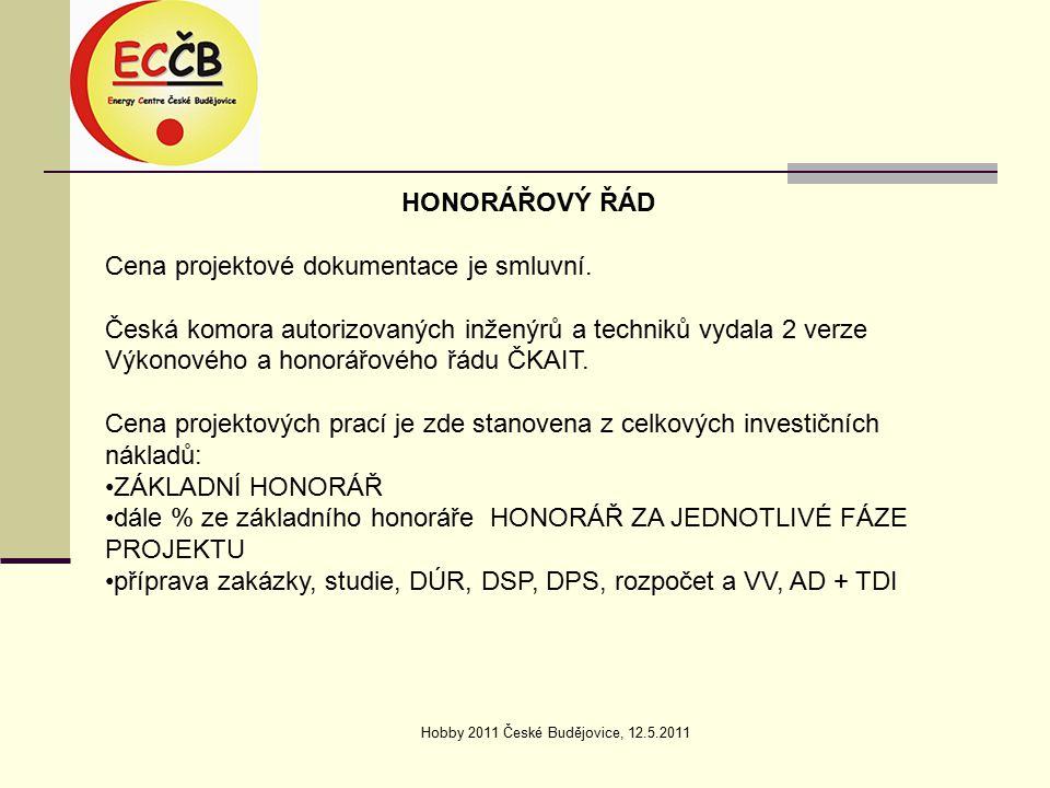 Hobby 2011 České Budějovice, 12.5.2011 HONORÁŘOVÝ ŘÁD Cena projektové dokumentace je smluvní.