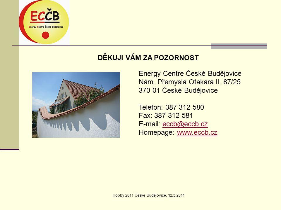 Hobby 2011 České Budějovice, 12.5.2011 DĚKUJI VÁM ZA POZORNOST Energy Centre České Budějovice Nám.