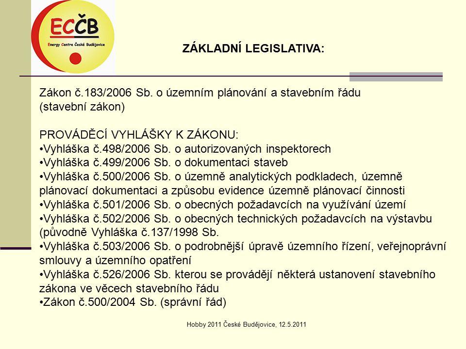 Hobby 2011 České Budějovice, 12.5.2011 ÚZEMNÍ ROZHODOVÁNÍ: Územní rozhodnutí je rozhodnutí o umístění stavby.