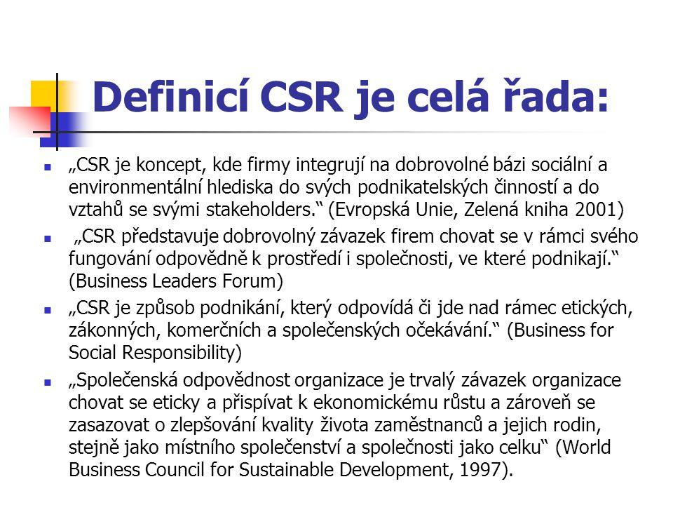 """Definicí CSR je celá řada: """"CSR je koncept, kde firmy integrují na dobrovolné bázi sociální a environmentální hlediska do svých podnikatelských činností a do vztahů se svými stakeholders. (Evropská Unie, Zelená kniha 2001) """"CSR představuje dobrovolný závazek firem chovat se v rámci svého fungování odpovědně k prostředí i společnosti, ve které podnikají. (Business Leaders Forum) """"CSR je způsob podnikání, který odpovídá či jde nad rámec etických, zákonných, komerčních a společenských očekávání. (Business for Social Responsibility) """"Společenská odpovědnost organizace je trvalý závazek organizace chovat se eticky a přispívat k ekonomickému růstu a zároveň se zasazovat o zlepšování kvality života zaměstnanců a jejich rodin, stejně jako místního společenství a společnosti jako celku (World Business Council for Sustainable Development, 1997)."""