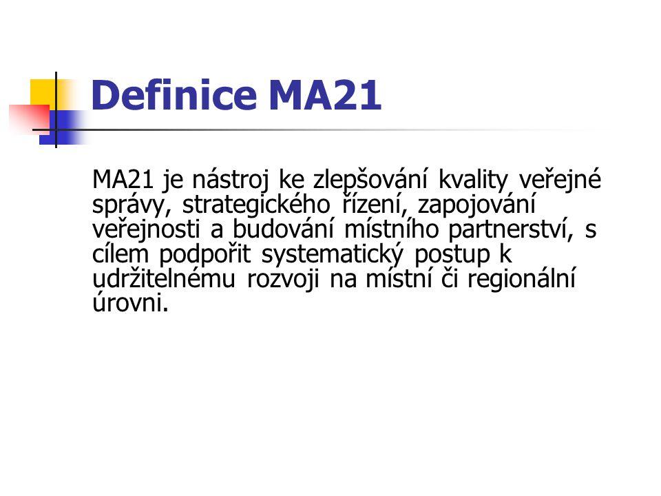Definice MA21 MA21 je nástroj ke zlepšování kvality veřejné správy, strategického řízení, zapojování veřejnosti a budování místního partnerství, s cílem podpořit systematický postup k udržitelnému rozvoji na místní či regionální úrovni.