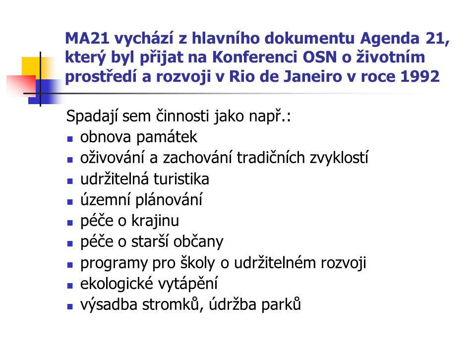 MA21 vychází z hlavního dokumentu Agenda 21, který byl přijat na Konferenci OSN o životním prostředí a rozvoji v Rio de Janeiro v roce 1992 Spadají sem činnosti jako např.: obnova památek oživování a zachování tradičních zvyklostí udržitelná turistika územní plánování péče o krajinu péče o starší občany programy pro školy o udržitelném rozvoji ekologické vytápění výsadba stromků, údržba parků
