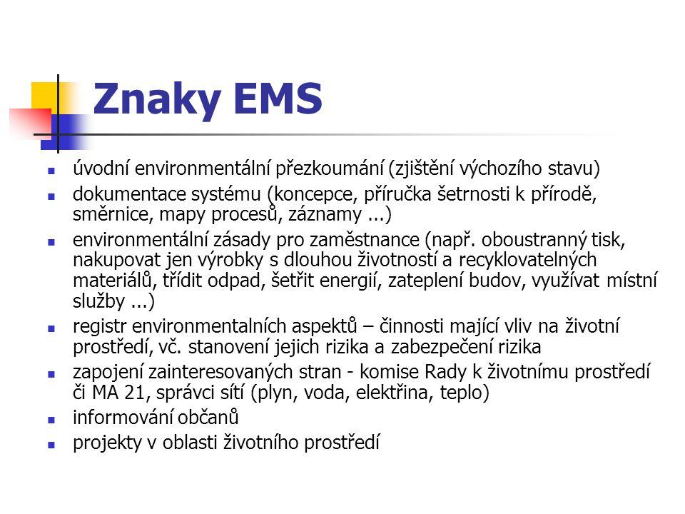 Znaky EMS úvodní environmentální přezkoumání (zjištění výchozího stavu) dokumentace systému (koncepce, příručka šetrnosti k přírodě, směrnice, mapy procesů, záznamy...) environmentální zásady pro zaměstnance (např.
