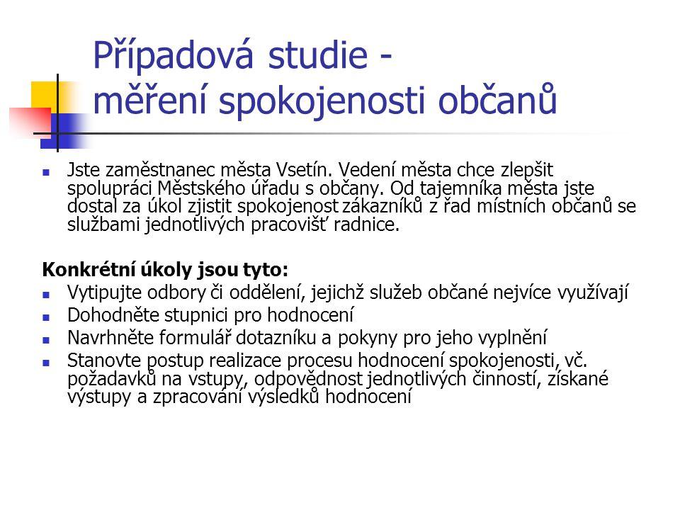 Případová studie - měření spokojenosti občanů Jste zaměstnanec města Vsetín.