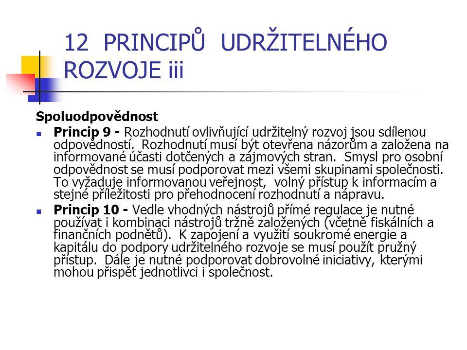 12 PRINCIPŮ UDRŽITELNÉHO ROZVOJE iii Spoluodpovědnost Princip 9 - Rozhodnutí ovlivňující udržitelný rozvoj jsou sdílenou odpovědností.