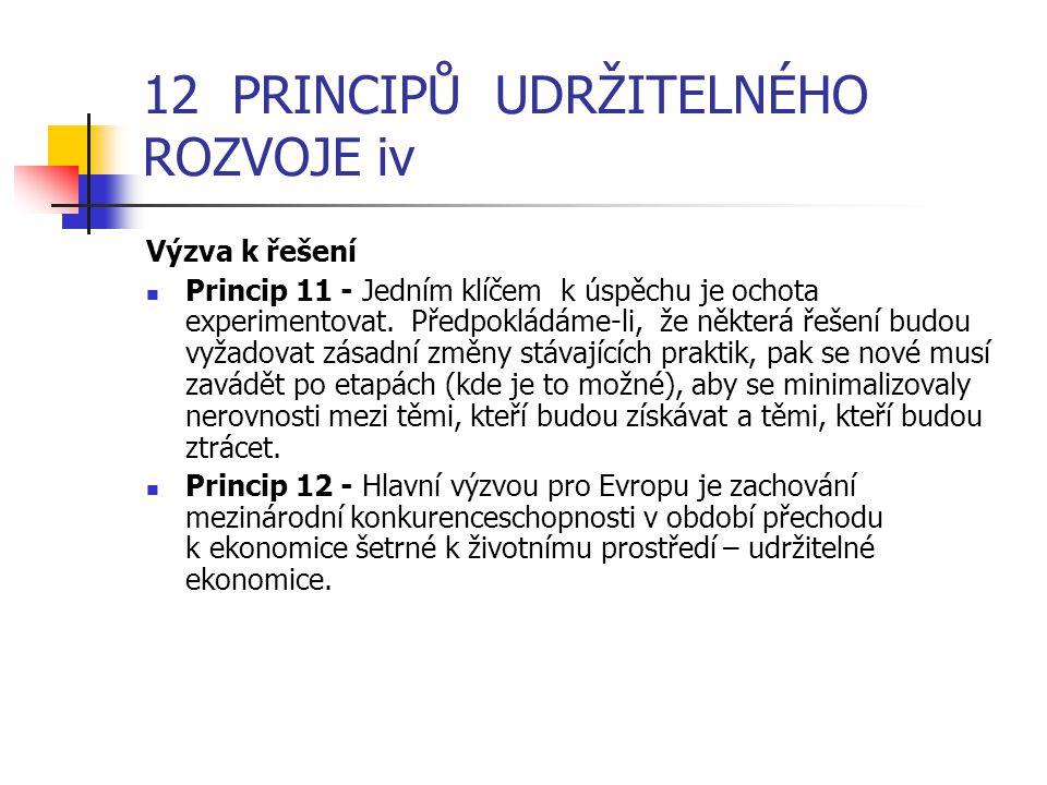 12 PRINCIPŮ UDRŽITELNÉHO ROZVOJE iv Výzva k řešení Princip 11 - Jedním klíčem k úspěchu je ochota experimentovat.