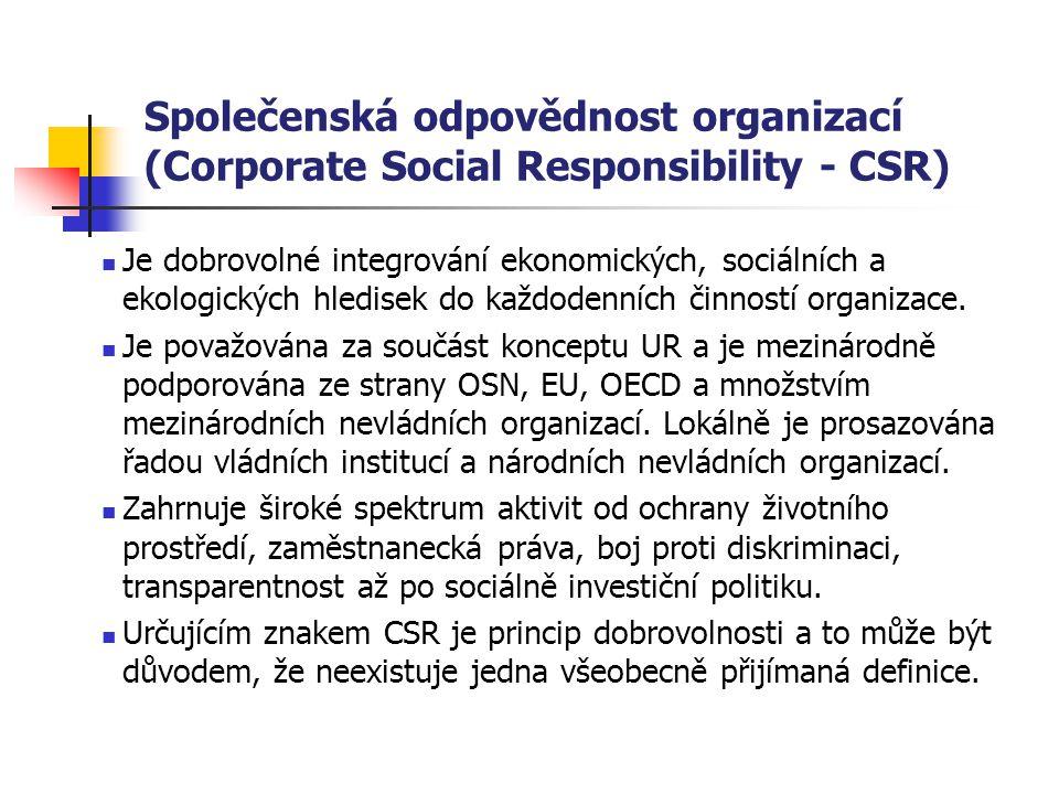 Společenská odpovědnost organizací (Corporate Social Responsibility - CSR) Je dobrovolné integrování ekonomických, sociálních a ekologických hledisek do každodenních činností organizace.