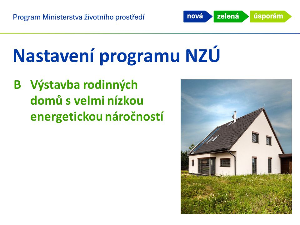 Nastavení programu NZÚ BVýstavba rodinných domů s velmi nízkou energetickou náročností