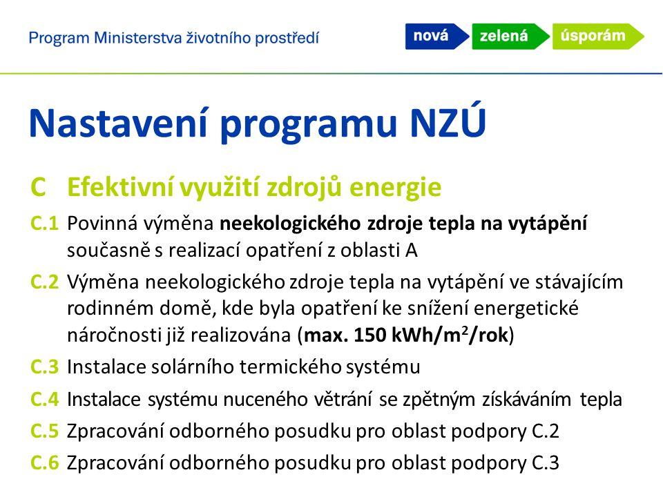 Nastavení programu NZÚ CEfektivní využití zdrojů energie C.1Povinná výměna neekologického zdroje tepla na vytápění současně s realizací opatření z oblasti A C.2Výměna neekologického zdroje tepla na vytápění ve stávajícím rodinném domě, kde byla opatření ke snížení energetické náročnosti již realizována (max.