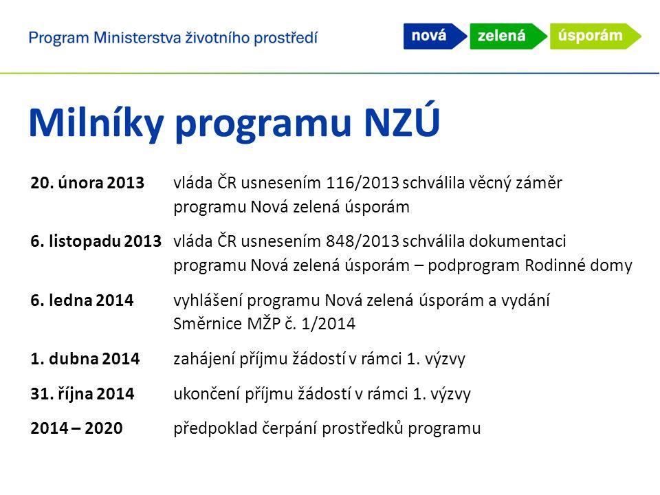 20. února 2013vláda ČR usnesením 116/2013 schválila věcný záměr programu Nová zelená úsporám 6.