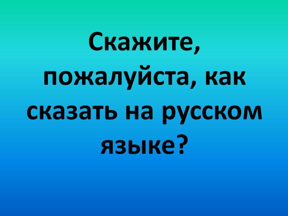 Cкажите, пожалуйста, как сказать на русском языке?