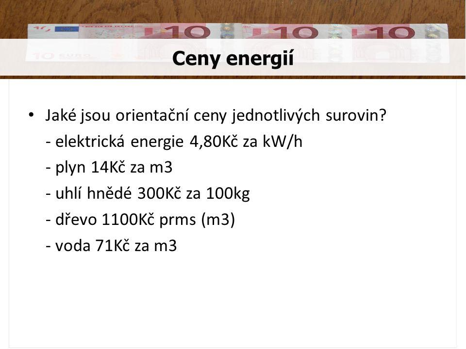 Jaké jsou orientační ceny jednotlivých surovin? - elektrická energie 4,80Kč za kW/h - plyn 14Kč za m3 - uhlí hnědé 300Kč za 100kg - dřevo 1100Kč prms