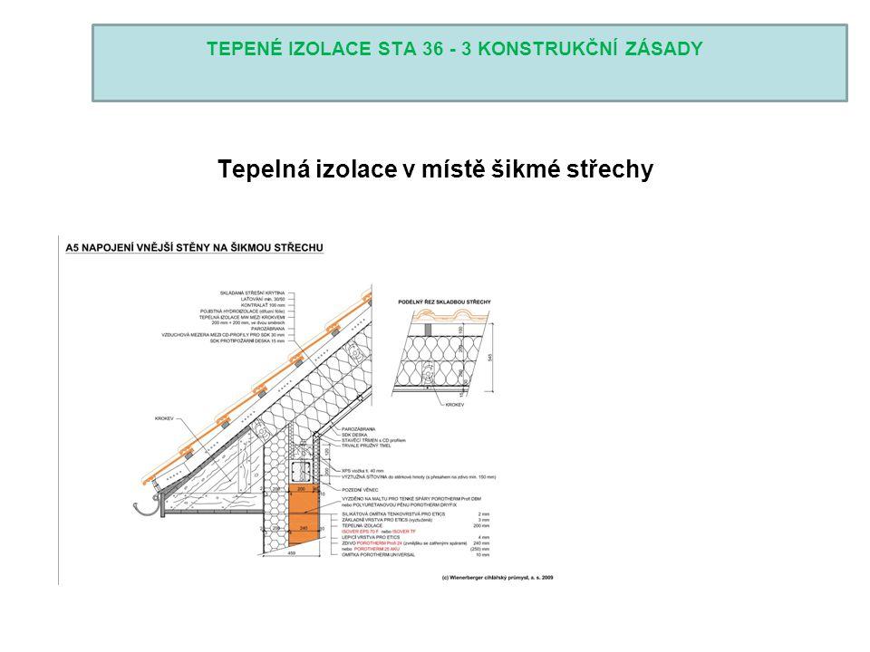 TEPENÉ IZOLACE STA 36 - 3 KONSTRUKČNÍ ZÁSADY Tepelná izolace v místě šikmé střechy