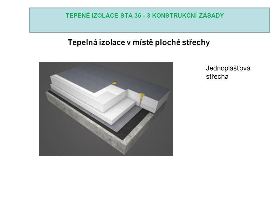 TEPENÉ IZOLACE STA 36 - 3 KONSTRUKČNÍ ZÁSADY Tepelná izolace v místě ploché střechy Jednoplášťová střecha