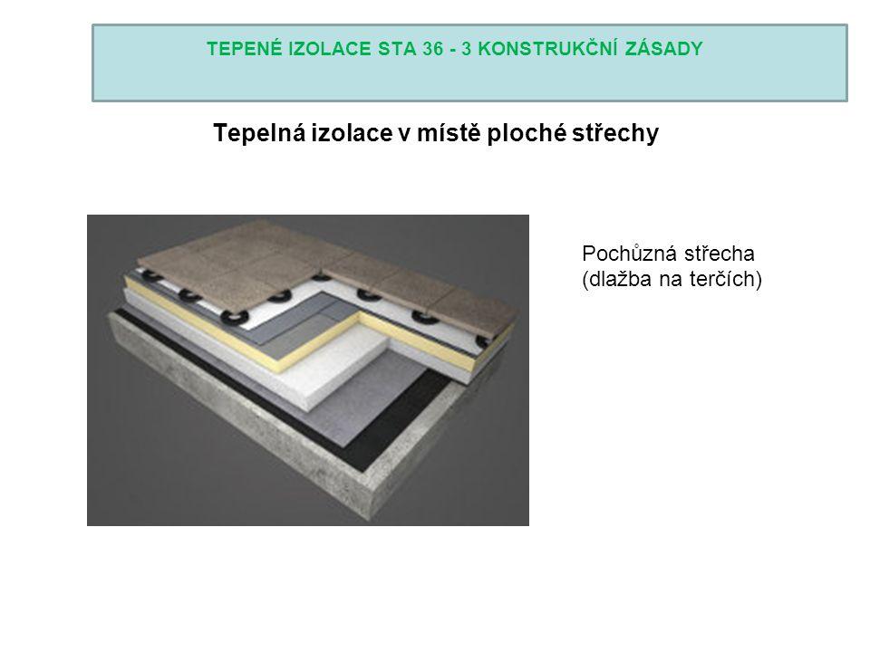 TEPENÉ IZOLACE STA 36 - 3 KONSTRUKČNÍ ZÁSADY Tepelná izolace v místě ploché střechy Pochůzná střecha (dlažba na terčích)