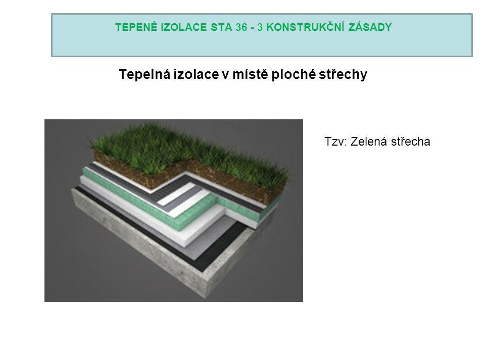 TEPENÉ IZOLACE STA 36 - 3 KONSTRUKČNÍ ZÁSADY Tepelná izolace v místě ploché střechy Tzv: Zelená střecha