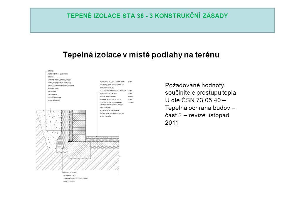 TEPENÉ IZOLACE STA 36 - 3 KONSTRUKČNÍ ZÁSADY Tepelná izolace v místě podlahy na terénu Požadované hodnoty součinitele prostupu tepla U dle ČSN 73 05 4