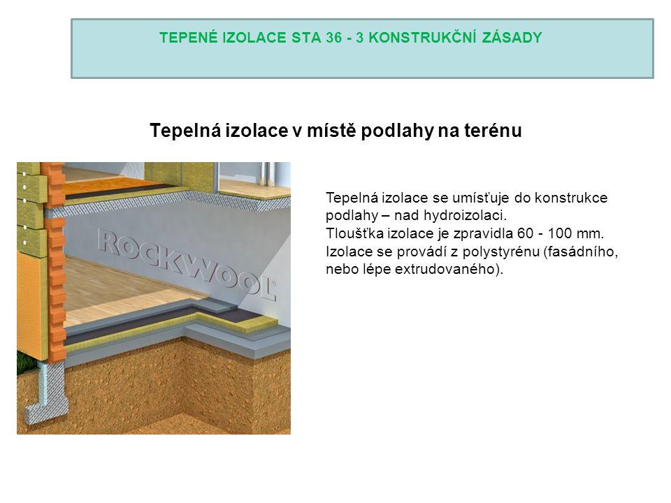 TEPENÉ IZOLACE STA 36 - 3 KONSTRUKČNÍ ZÁSADY Tepelná izolace v místě podlahy na terénu Tepelná izolace se umísťuje do konstrukce podlahy – nad hydroiz