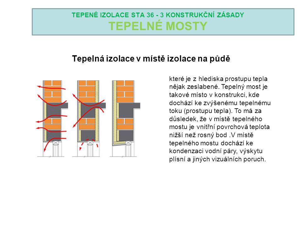 TEPENÉ IZOLACE STA 36 - 3 KONSTRUKČNÍ ZÁSADY TEPELNÉ MOSTY Tepelná izolace v místě izolace na půdě které je z hlediska prostupu tepla nějak zeslabené.
