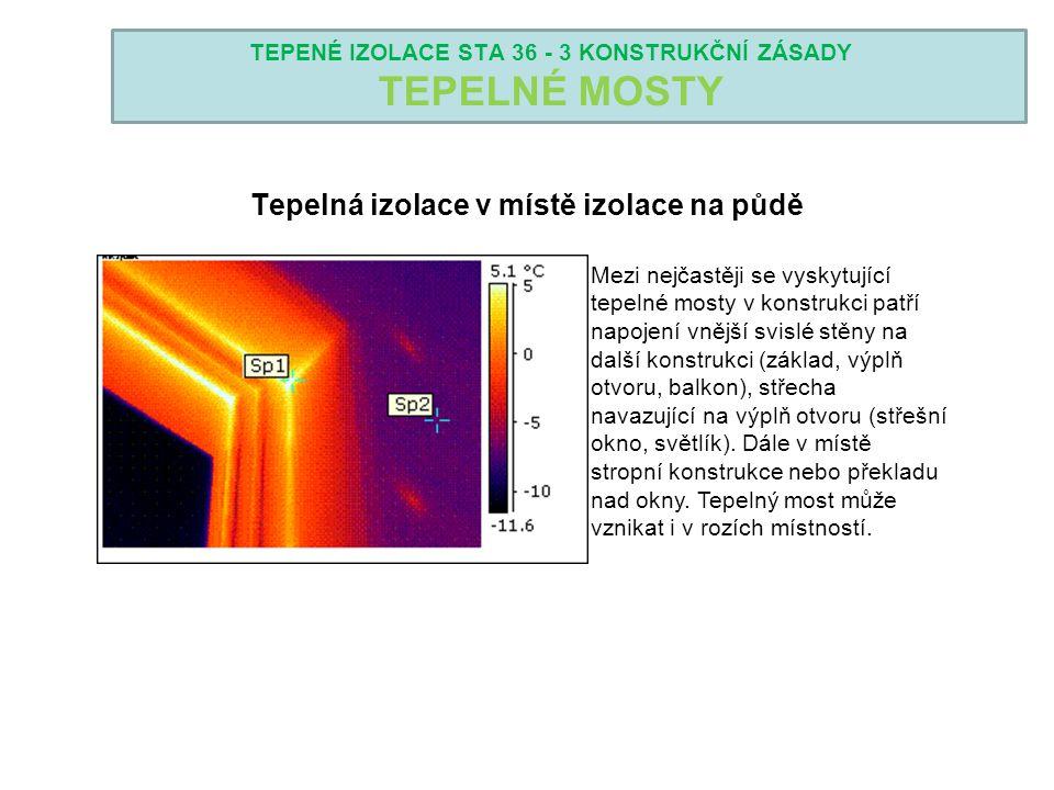 TEPENÉ IZOLACE STA 36 - 3 KONSTRUKČNÍ ZÁSADY TEPELNÉ MOSTY Tepelná izolace v místě izolace na půdě Mezi nejčastěji se vyskytující tepelné mosty v kons