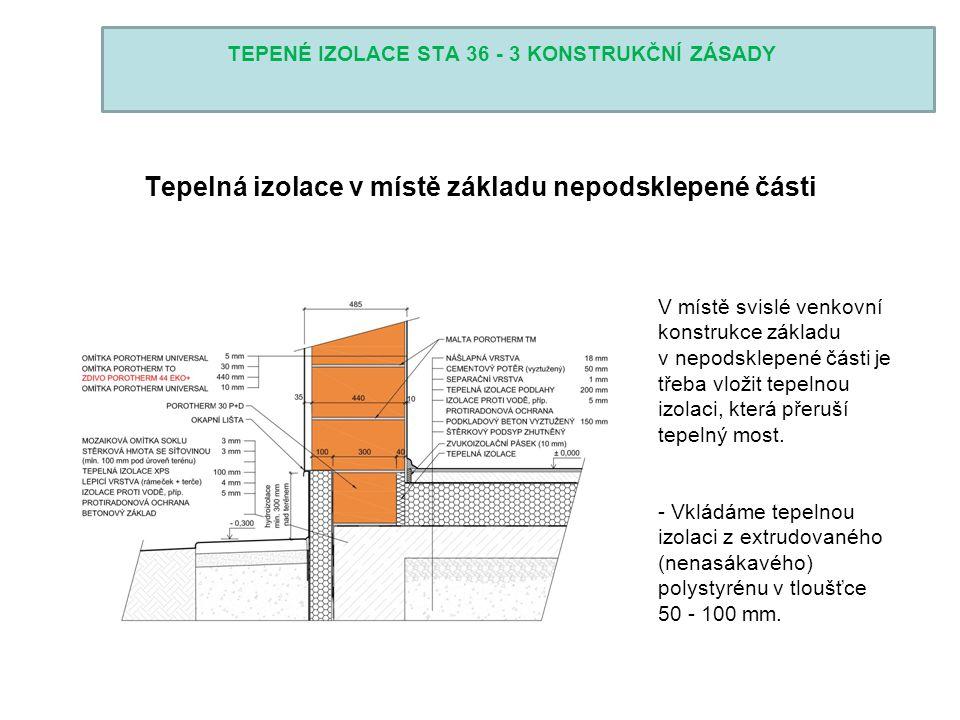 TEPENÉ IZOLACE STA 36 - 3 KONSTRUKČNÍ ZÁSADY Tepelná izolace v místě základu nepodsklepené části V místě svislé venkovní konstrukce základu v nepodskl