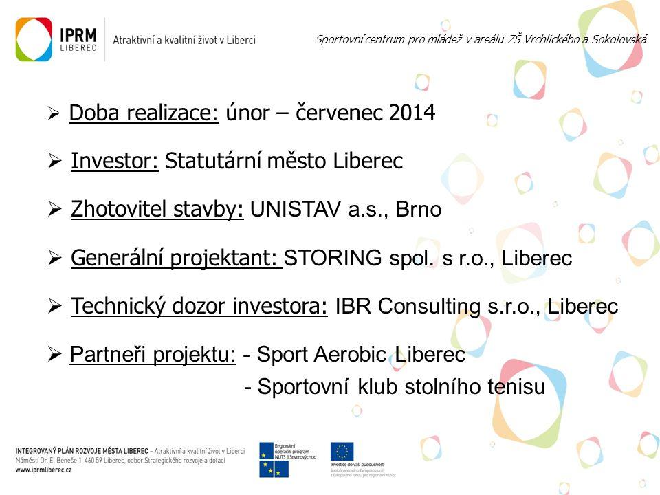  Doba realizace: únor – červenec 2014  Investor: Statutární město Liberec  Zhotovitel stavby: UNISTAV a.s., Brno  Generální projektant: STORING spol.