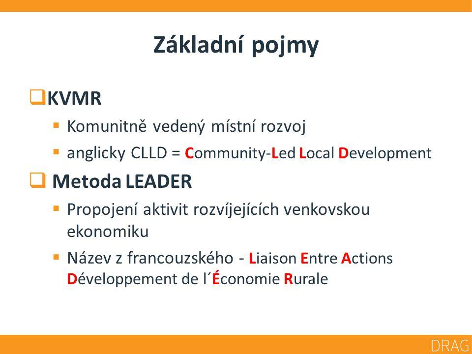 Základní pojmy  KVMR  Komunitně vedený místní rozvoj  anglicky CLLD = Community-Led Local Development  Metoda LEADER  Propojení aktivit rozvíjejících venkovskou ekonomiku  Název z francouzského - Liaison Entre Actions Développement de l´Économie Rurale
