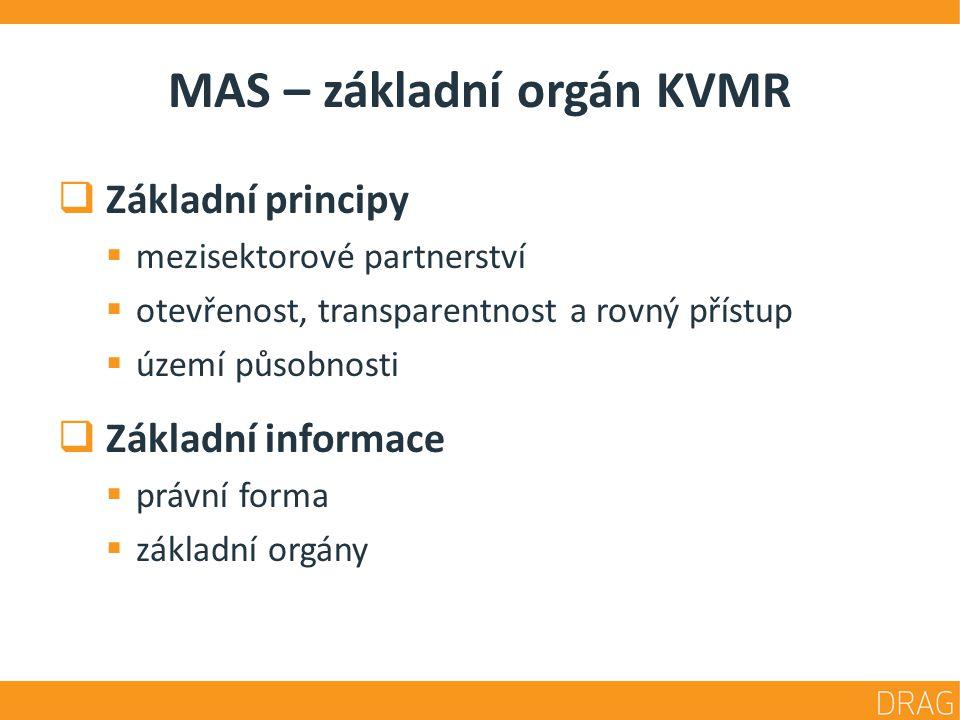 MAS – základní orgán KVMR  Základní principy  mezisektorové partnerství  otevřenost, transparentnost a rovný přístup  území působnosti  Základní informace  právní forma  základní orgány