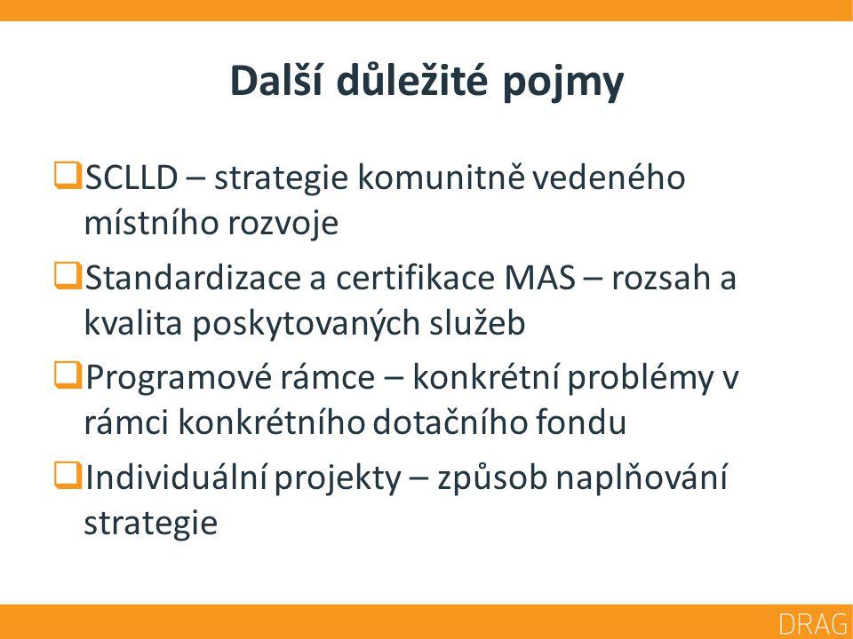 Další důležité pojmy  SCLLD – strategie komunitně vedeného místního rozvoje  Standardizace a certifikace MAS – rozsah a kvalita poskytovaných služeb  Programové rámce – konkrétní problémy v rámci konkrétního dotačního fondu  Individuální projekty – způsob naplňování strategie
