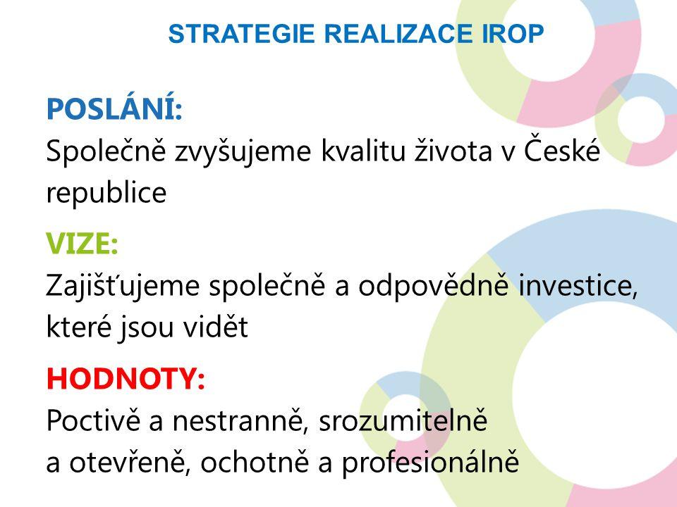 POSLÁNÍ: Společně zvyšujeme kvalitu života v České republice VIZE: Zajišťujeme společně a odpovědně investice, které jsou vidět HODNOTY: Poctivě a nestranně, srozumitelně a otevřeně, ochotně a profesionálně STRATEGIE REALIZACE IROP