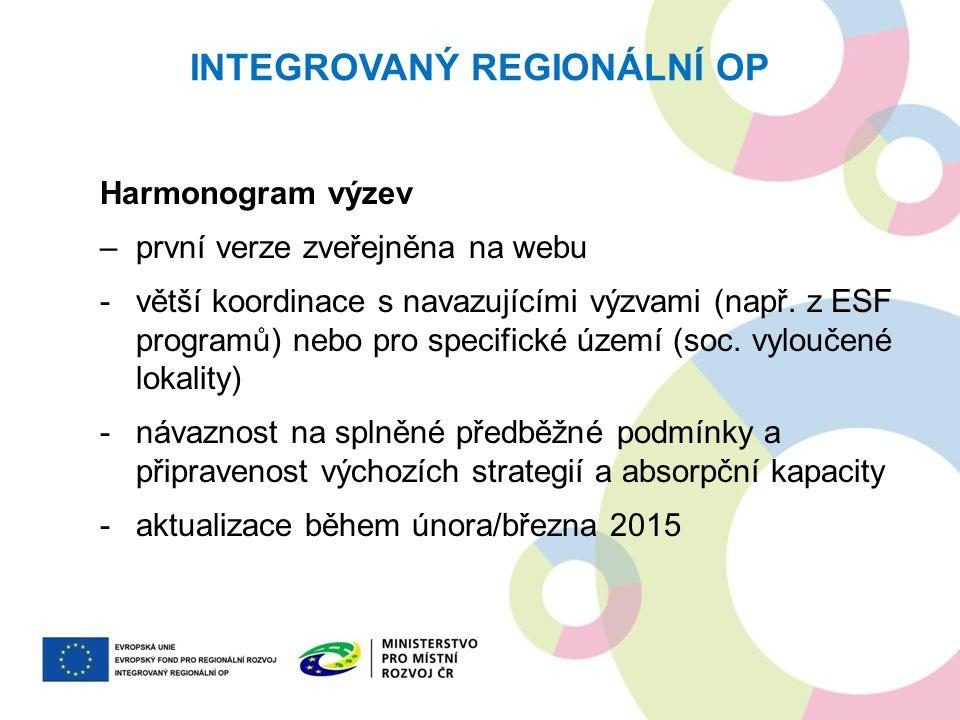 INTEGROVANÝ REGIONÁLNÍ OP Harmonogram výzev –první verze zveřejněna na webu -větší koordinace s navazujícími výzvami (např. z ESF programů) nebo pro s