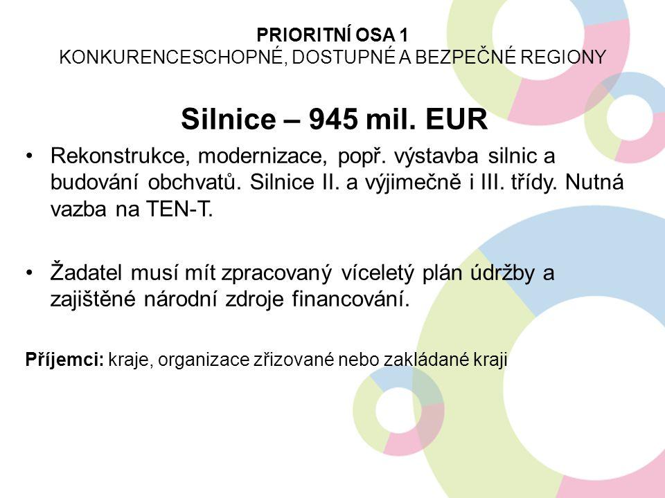 Silnice – 945 mil.EUR Rekonstrukce, modernizace, popř.
