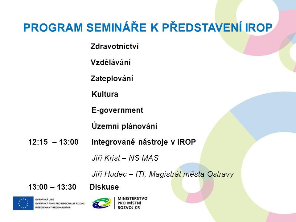 PROGRAM SEMINÁŘE K PŘEDSTAVENÍ IROP Zdravotnictví Vzdělávání Zateplování Kultura E-government Územní plánování 12:15 – 13:00 Integrované nástroje v IR