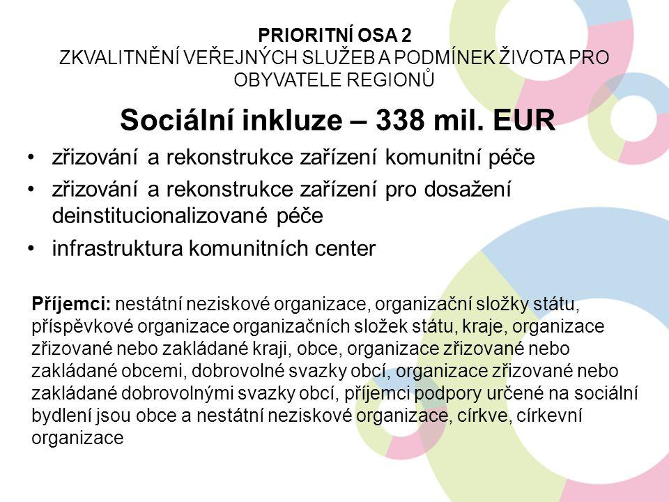 Sociální inkluze – 338 mil. EUR zřizování a rekonstrukce zařízení komunitní péče zřizování a rekonstrukce zařízení pro dosažení deinstitucionalizované