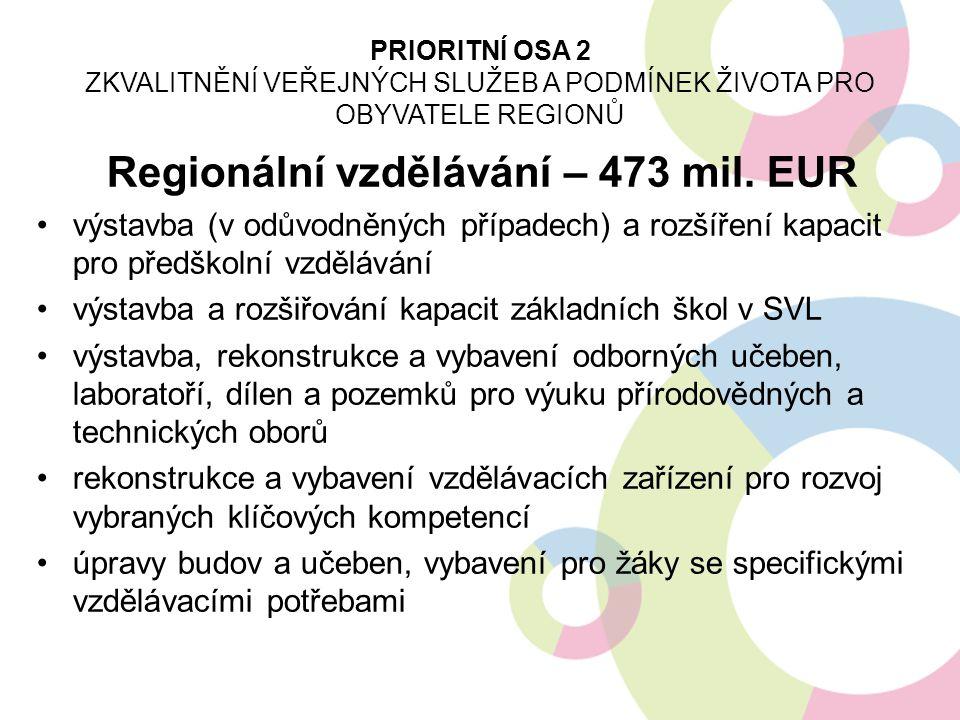 Regionální vzdělávání – 473 mil. EUR výstavba (v odůvodněných případech) a rozšíření kapacit pro předškolní vzdělávání výstavba a rozšiřování kapacit