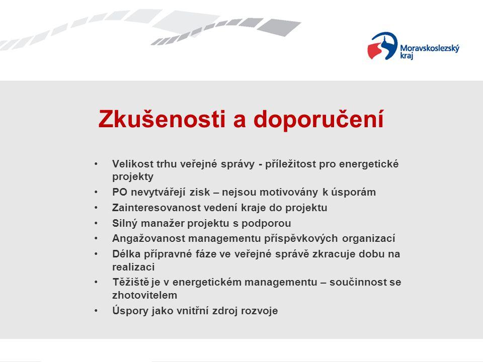 Velikost trhu veřejné správy - příležitost pro energetické projekty PO nevytvářejí zisk – nejsou motivovány k úsporám Zainteresovanost vedení kraje do