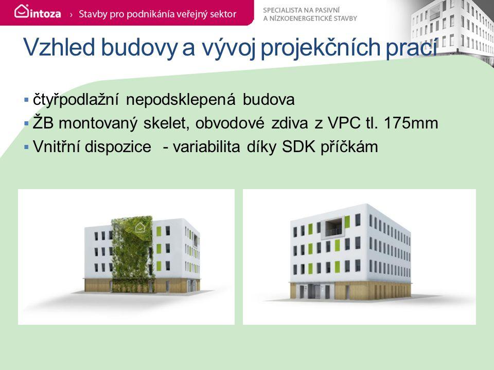 Vzhled budovy a vývoj projekčních prací  čtyřpodlažní nepodsklepená budova  ŽB montovaný skelet, obvodové zdiva z VPC tl.