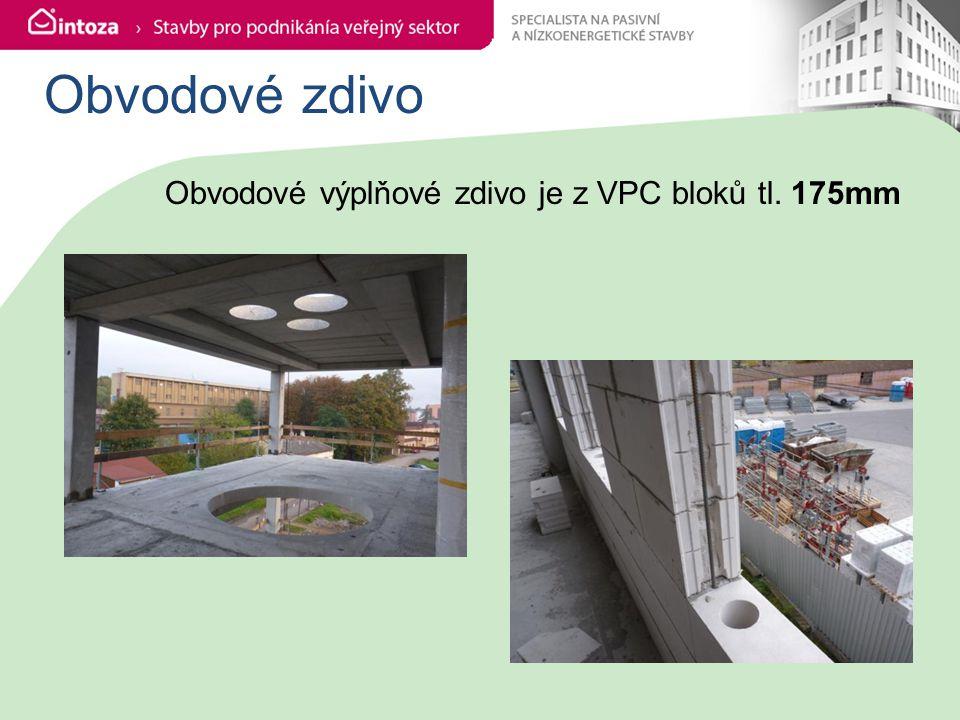Obvodové zdivo Obvodové výplňové zdivo je z VPC bloků tl. 175mm