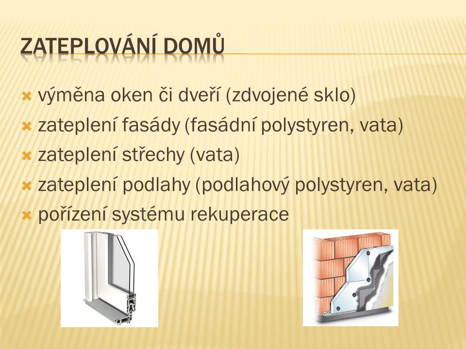 výměna oken či dveří (zdvojené sklo)  zateplení fasády (fasádní polystyren, vata)  zateplení střechy (vata)  zateplení podlahy (podlahový polystyren, vata)  pořízení systému rekuperace