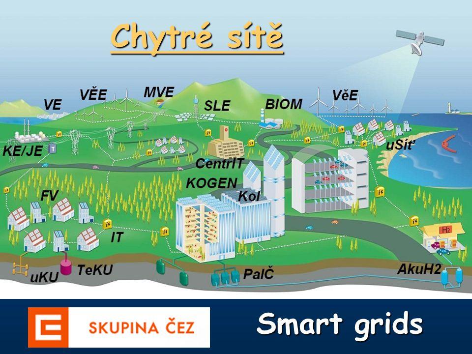 Chytré (inteligentní) sítě Chytré (inteligentní) sítě se připravují pro další rozvoj distribuční elektroenergetiky a jsou podporovány i v rámci Evropské unie (Evropská technologická platforma inteligentních sítí).
